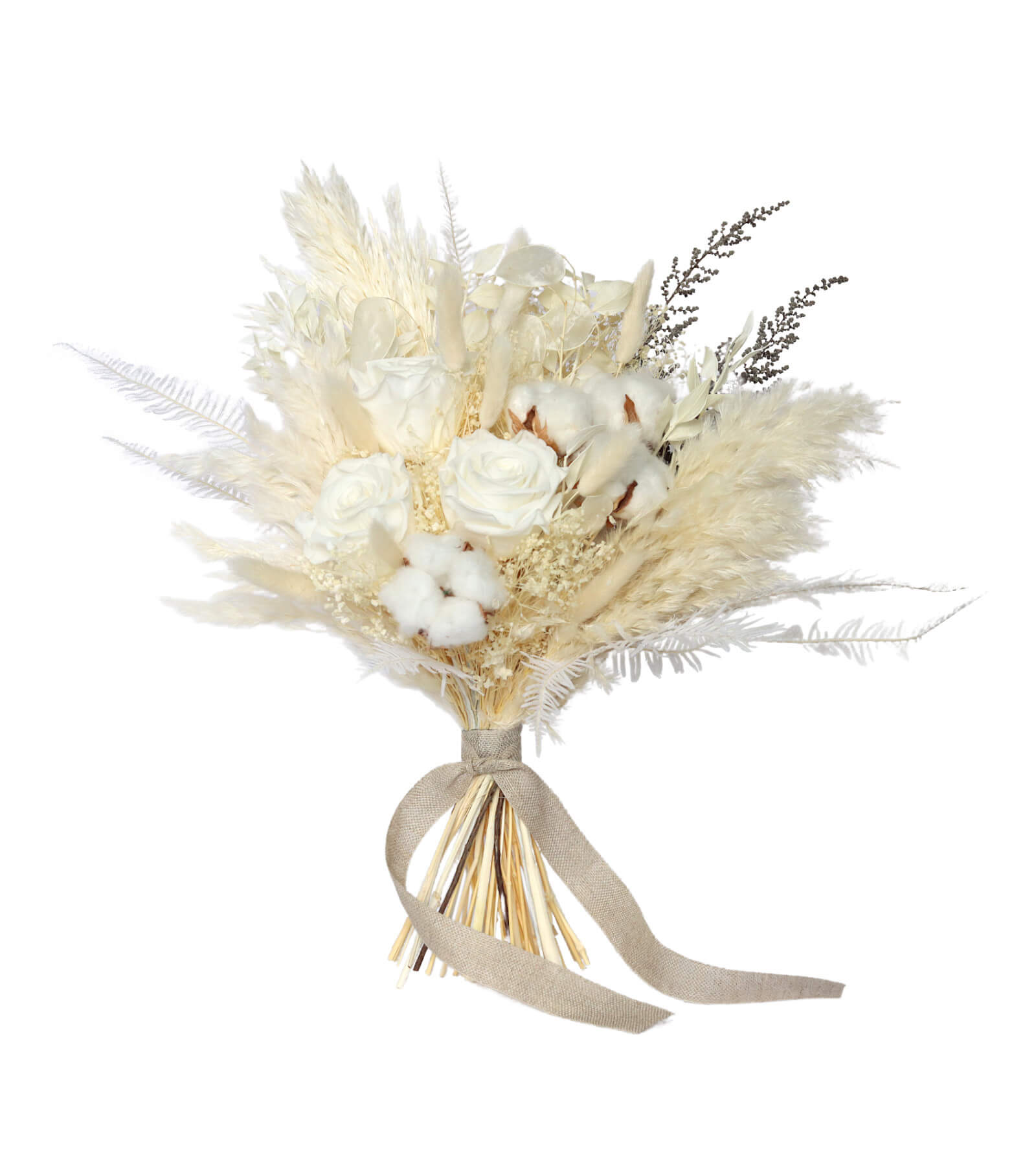 White Wedding Bridesmaid Bouquet preserved and dried wedding flowers by Shida Preserved Flowers