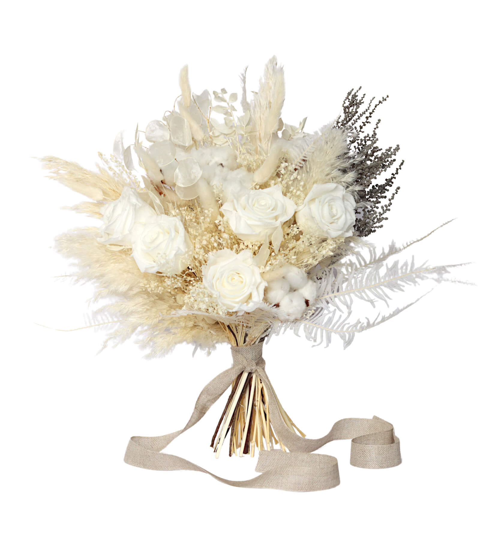 White Wedding Bridal Bouquet preserved and dried wedding flowers by Shida Preserved Flowers