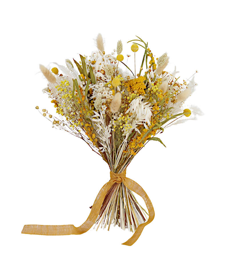 Mimosa Bridesmaid Bouquet preserved and dried wedding flowers by Shida Preserved Flowers